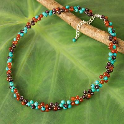 Multi-gemstone beaded necklace, 'Rainbow Bloom' - Artisan Crafted Colorful Gemstone Choker Necklace
