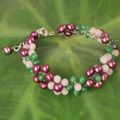 Cultured pearl and quartz beaded bracelet, 'Radiant Blossoms' - Handmade Adjustable Pearl and Quartz Beaded Bracelet