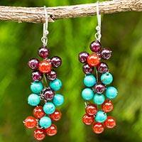 Multi-gemstone dangle earrings, 'Blooming Rainbow' - Hand Crafted Multi-gemstone Floral Dangle Earrings