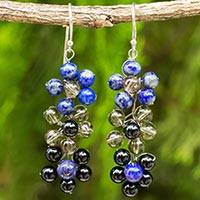 Multi-gemstone dangle earrings, 'Royal Blossoms' - Hand Crafted Floral Multi-gemstone Beaded Dangle Earrings