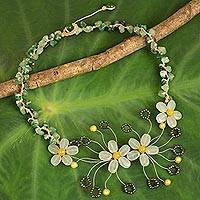 Quartz beaded necklace, 'Summer Zinnia' - Floral Pendant Necklace Crafted from Quartz and Pearls