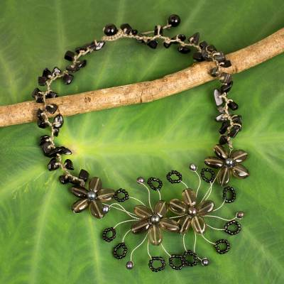 Smoky quartz and onyx beaded necklace, 'Summer Zinnia' - Artisan Crafted Smoky Quartz and Onyx Flower Necklace