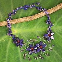 Lapis lazuli and amethyst beaded necklace, 'Summer Zinnia' - Fair Trade Necklace Made from Lapis Lazuli and Amethyst