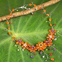Multi-gemstone beaded necklace, 'Garden of Zinnias' - Artisan Crafted Multi-Gemstone Beaded Necklace from Thailand