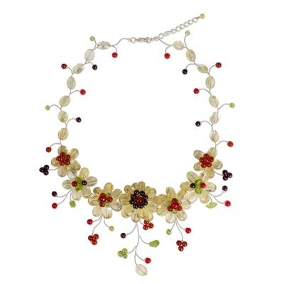 Colorful Thai Floral Necklace Handcrafted with Gemstones