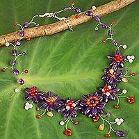 Multi-gemstone waterfall necklace, 'Purple Zinnias' - Handcrafted Thai Floral Waterfall Necklace with Gemstones
