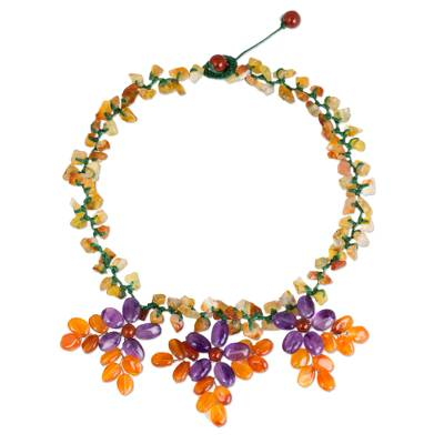 Carnelian Beaded Necklace Hand Crafted with Amethyst Flowers