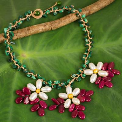 Cultured pearl and malachite flower necklace, 'White Geranium Trio' - Malachite Beaded Necklace Hand Crafted with Pearl Flowers