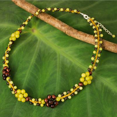 Tiger's eye and lemon quartz beaded necklace, 'Primrose' - Lemon Quartz Tiger's Eye and Smoky Quartz Beaded Necklace