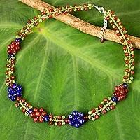 Carnelian and lapis lazuli beaded necklace, 'Primrose' - Lapis Lazuli Carnelian and Peridot Handmade Beaded Necklace