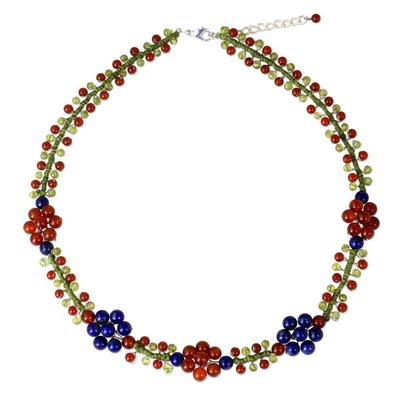 Lapis Lazuli Carnelian and Peridot Handmade Beaded Necklace
