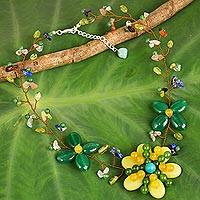 Multi-gemstone beaded necklace, 'Sunshine Garden' - Artisan Crafted Floral Statement Necklace with Gemstones