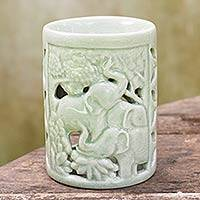 Ceramic oil warmer, 'Happy Forest' - Hand Crafted Ceramic Clay Oil Warmer Thai Green Elephants