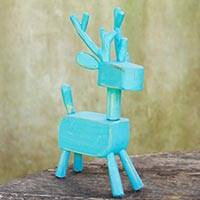 Wood figurine, 'Primitive Deer in Blue' - Artisan Crafted Rustic Deer Sculpture from Thai Artisan