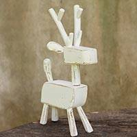 Wood figurine, 'Primitive Deer in White' - Hand Carved Wooden Deer Sculpture with White Finish