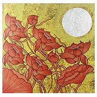'Earthy Blossom II' - Thai Red Lotus Painting with Gold and Silver Foil