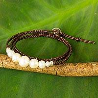 Cultured pearl and leather wrap bracelet, 'Chiang Mai Clouds' - Hand Braided Leather and Cultured Pearl Wrap Bracelet