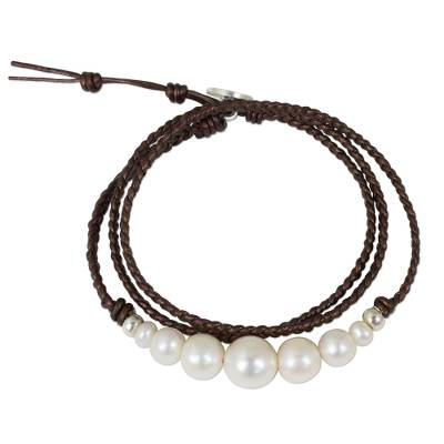Hand Braided Leather and Cultured Pearl Wrap Bracelet