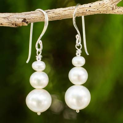 Cultured pearl dangle earrings, Chiang Mai Clouds