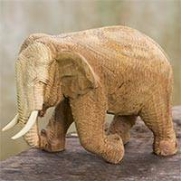 Wood statuette, 'Blissful Elephant' - Handmade Rain Tree and Ivory Wood Elephant Statuette