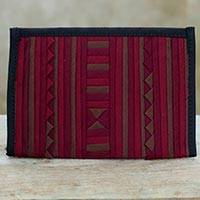 Cotton applique passport cover, 'Lisu Crimson Voyage' - Cotton Thai Hill Tribe Red Brown Applique Passport Cover