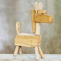 Wood figurine, 'Primitive Horse' - Fair Trade Hand Carved Unfinished Wood Horse Sculpture