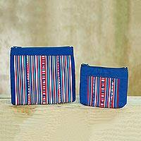 Cotton blend cosmetic bags, 'Lisu Cheer' (pair) - Lisu Tribe Style Cosmetic Bags in Red White and Blue (Pair)