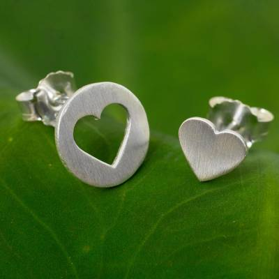 Sterling silver button earrings, 'Heart in the Moon' - Brushed Silver Heart Earrings in Positive and Negative Space
