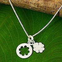 Sterling silver pendant necklace, 'Four Leaf Clover' - Thai Brushed Sterling Silver Lucky Clover Pendant Necklace