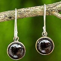 Garnet dangle earrings, 'Early Sun' - Garnet Petite Handcrafted Brass and Silver Dangle Earrings