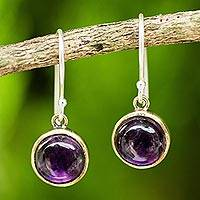 Amethyst dangle earrings, Early Sun