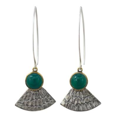Antiqued 925 Silver Butterfly Wing Earrings with Green Onyx