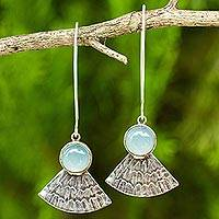 Sterling silver dangle earrings, 'Blue Butterfly Crown' - Blue Chalcedony Butterfly Wing Antiqued 925 Silver Earrings