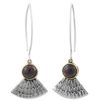 Antiqued 925 Silver Butterfly Wing Earrings with Garnet