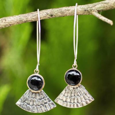 Onyx dangle earrings, 'Butterfly Crown' - Antiqued 925 Silver Butterfly Wing Earrings with Black Onyx