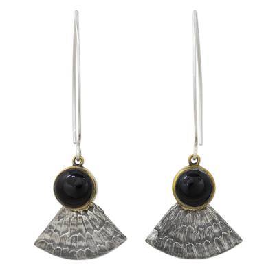 Antiqued 925 Silver Butterfly Wing Earrings with Black Onyx