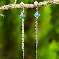 Gold accented sterling silver dangle earrings, 'Siam Enchantment' - Turquoise Color Gem on 925 Silver and Gold Accent Earrings