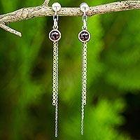 Gold accented garnet dangle earrings, 'Siam Enchantment' - Artisan Crafted Garnet 925 Silver and Gold Accent Earrings