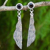 Smoky quartz dangle earrings, 'Morning Breeze' - Thai Sterling Silver Handcrafted Earrings with Smoky Quartz