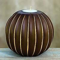 Wood tealight candleholder, 'Asian Touch in Brown' - Hand Carved Brown Wood Tealight Candleholder from Thailand
