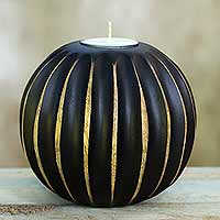 Wood tealight candleholder, 'Asian Touch in Black' - Thai Black Wood Tealight Candleholder Lampion Style