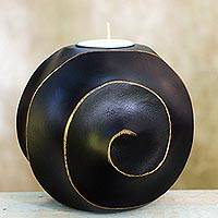 Wood tealight candleholder, 'Asian Moon in Black' - Black Snail Moon Tealight Candleholder from Thailand