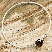 Smoky quartz bangle bracelet, 'Earthy Shimmer' - Hand Crafted Smoky Quartz and Sterling Silver Bangle