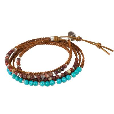 Jasper and Calcite Leather Wrap Bracelet with Silver Beads