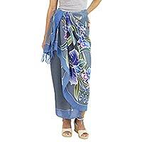 Silk batik sarong, 'Twilight Cattleya' - 100% Silk Sarong with Hand-printed Batik Thai Blue Orchids