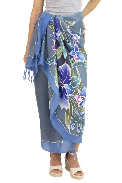 100% Silk Sarong with Hand-printed Batik Thai Blue Orchids
