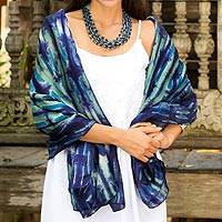 Silk shawl, 'Chao Phraya River' - Blue and Green Tie Dyed All Silk Shawl from Thai Artisan