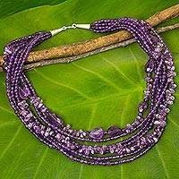 Amethyst beaded strand necklace, 'Lavender Field' - Handmade Amethyst and Purple Glass Beaded Strand Necklace