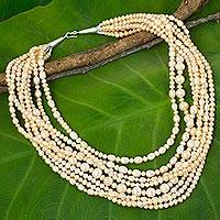 Cultured pearl beaded strand necklace, 'Peony Garden'