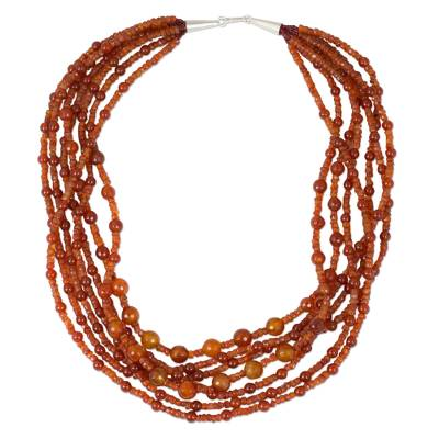 Artisan Crafted Carnelian Beaded Necklace from Thailand